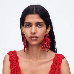 2/$35🖤 Long Red Beaded Tassel Floral Drop Earring